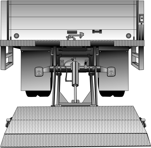 Hide-A-Way lift for commercial truck.